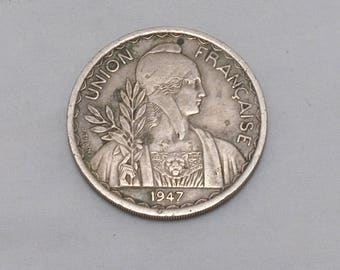 1947 Union Francaise Federation Indochinoise 1 PIASTRE - RARE - Mintage 261,000 - XF+, Details