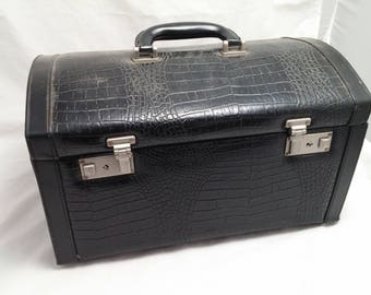 Vintage Faux Alligator Black Leather Hardshell Train Case with hidden compartment