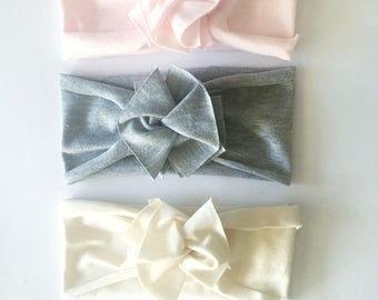 Brand New Bundle // Save on set of 3 // Flower Jersey Headband // Baby Girl Headband // Infant // Newborn // Adult // Floral :FLB