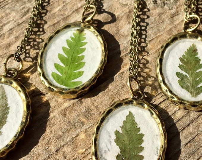 Real Fern Frond Necklace Nature Jewelry
