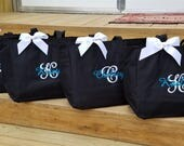 Set of 11 Monogrammed Tote Bags Bridesmaid Bag Personalized Gifts Wedding