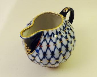 RUSSIAN LOMONOSOV CREAMER - Fine Hand Decorated Porcelain - 'Cobalt Net' Pattern