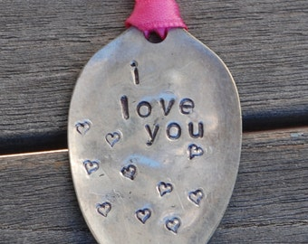 I LOVE YOU Ornament with HEART stamps made from Vintage spoon with Pink Ribbon