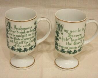2 Porcelain Irish Coffee Pedestal Mugs w/ Irish Proverb Verse Blessing Ireland made in Japan