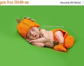 SALE 20% OFF Baby Halloween Pumpkin Hat, Diaper Cover, Booties Crochet - Thanksgiving Newborn NB Costume Photo Prop Girl Boy Winter Set Outf