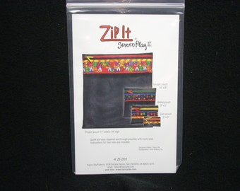 Zip It Screen Play patterns for pouches. four sizes of fun, zippered, see through, pouches by Nancy Ota