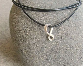 Dainty Infinity Necklace, Eight Charm Necklace, Sterling Silver Leather Pendant, Black Leather Necklace