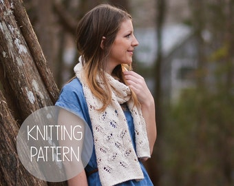 knitting pattern spring lace eyelet scarf - the petals scarf