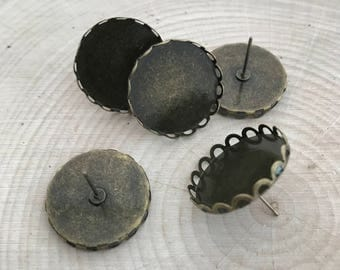 6 pcs - Round Push-Pin Base Setting - Antique Bronze Ornate Vintage Style Cabochon Base Jewelry Supplies (DA184)