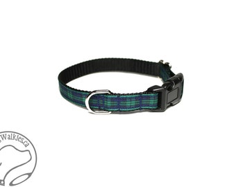 "Green Edge Black Watch Tartan Small Dog Collar - Thin Dog Collar - 1/2"" (12mm) Wide - Navy and Green Plaid - Choice of style and size"