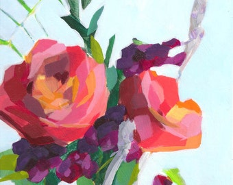 flower bouquet of orange and pink roses original acrylic painting on birch wood panel