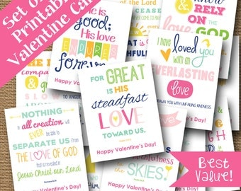 Set of 12 Scripture Valentines | Christian Valentines Bundle | Love of God Cards | DIY PRINTABLE | Bible Verse, God's Love | Outreach Cards