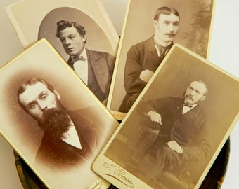 4 Genuine Antique Cartes de Visites ft. Dapper Men- Collectible Photography Ephemera CDV Victorian Edwardian Sepia Australia Scotland