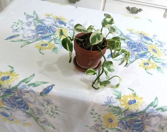 Square Vintage Tablecloth Made From a Sturdy White Cotton, Featuring Blue Irises and Cheerful Yellow Daisies, 51 x 50, Vintage Table Linens
