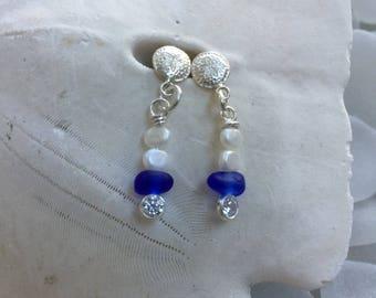 Maine Atlantic white cobalt sea glass earrings, sea glass pearl earrings, white Maine Sea glass earrings, bridal bridesmaid beach wedding
