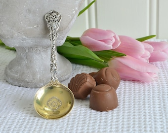 Tiny ornate bon bon serving spoon, vintage Swedish nut server, Amsterdam pattern, Nils Johan Sweden