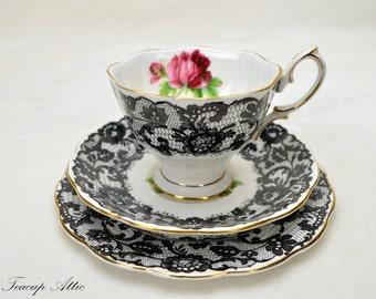 Royal Albert Vintage Senorita Teacup Trio, English Teacup With Black Lace, Wedding Gift, ca 1950