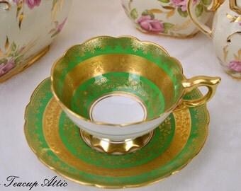 ON SALE Vintage Royal Stafford Green and Gold Teacup and Saucer, Vintage Teacup, English Bone China, Wedding Gift,  ca. 1950-