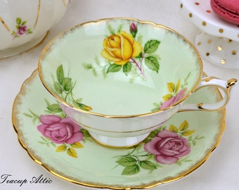 Paragon Vintage Pale Green Teacup and Saucer Set with Pink And Yellow Roses, English Bone China Tea Cup Set, ca. 1960-1963
