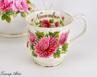 Royal Albert Flowers of the Month November Mug, Vintage English Bone China Mug, Birthday Gift,  ca. 1970