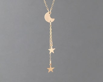 Moon and the Stars Gold Fill Y Lariat Drop Necklace