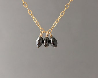 THREE Wishes Black Diamond Stone Necklace Gold Rose Gold or Silver