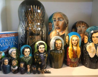 Set of Twenty Game of Thrones Hand Painted Russian Matryoshka Art Nesting Dolls
