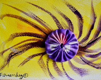 Purple & Yellow Watercolor Swirl on Blue Stitched Postcard