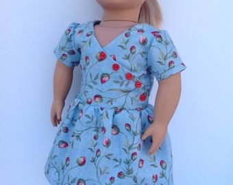 Flour sack dress, 1930s style dress, 18 inch doll clothing, blue floral doll dress, historical doll clothes