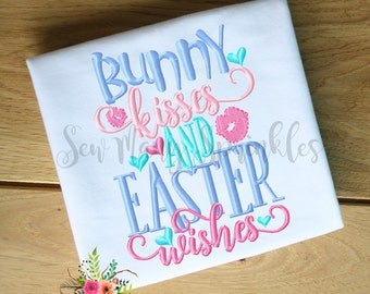 Easter shirt, Easter outfit, girls easter shirt, Spring outfit, Easter top, Bunny kisses Easter wishes, embroidered Easter shirt, girls top