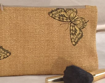 Earth Friendly~Green~Environmentally Friendly~Recycled~Completely Lined~Cosmetic Bag~Damask~Embroidered Butterfly~Gold