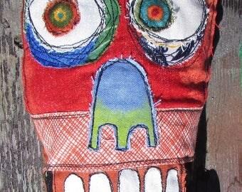 Red Skull Face monster handmade art doll