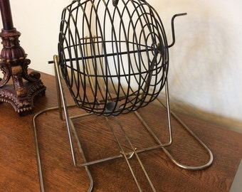Vintage Large Bingo Cage, Bingo Ball Spinner, Vintage Game Decor, Does NOT Included Bingo Balls