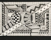 Rolling Deep- Black and White Stationery, Blank Flat Cards, Any Occasion, Stationery Set, Hand Drawn