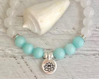 yoga bracelet, bohemian jewelry, lotus bracelet, jade bracelet, yoga jewelry