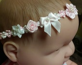 Baby Girl headbands, pink blue lilac Infant Headbands, rococo lace bows flowers baby hair accessories