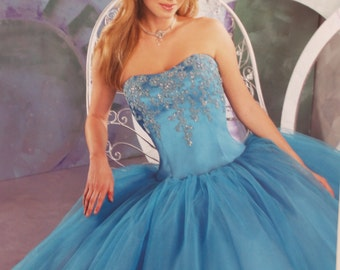 Prom Vintage Princess Dress turquoise beaded flower appliqués, prom full dress, turquoise Wedding Dress, Size 12, Quinceanera, Sweet 16