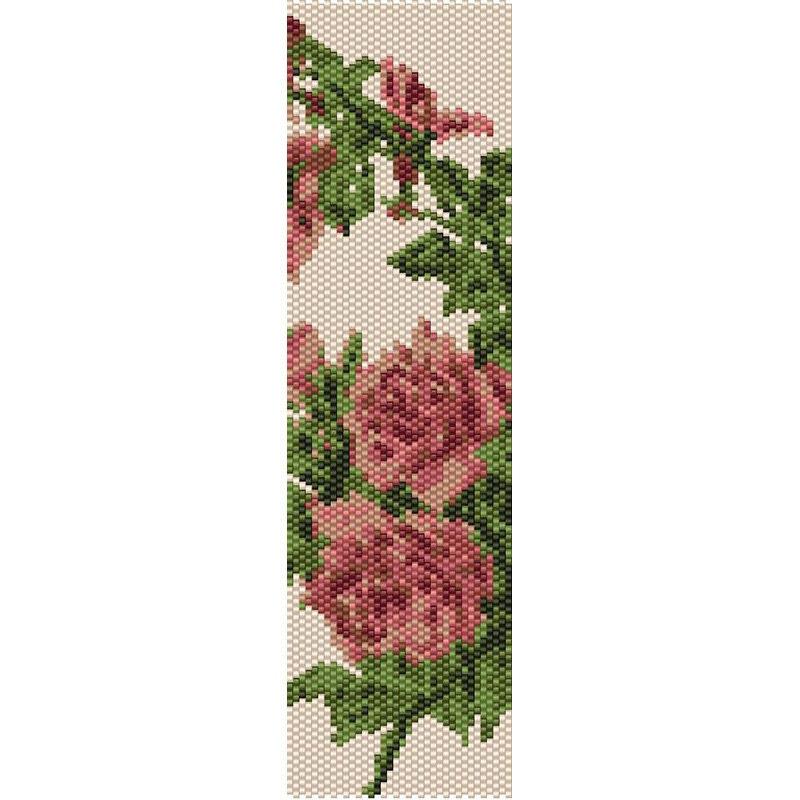 Vintage Flowers 8 Peyote Bead Pattern Bracelet Cuff