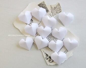 12 origami balloon hearts | white wedding hearts || bridal shower decors ||| origmai gifts || white heart favors -cotton white