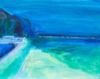 Pool In Greece - Abstract Impressionistic Oil Painting