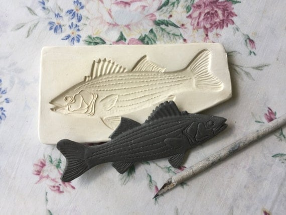 Clay Sprig - Striped Fish Press Mold - Relief Mold or Sprig Mold for Ceramic Decoration