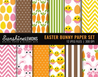Easter Bunny Digital Paper Pack - Set of 12 Paper - COMMERCIAL USE Read Terms Below