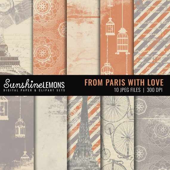 From Paris - French Inspired Digital Papers - COMMERCIAL USE Read Terms Below