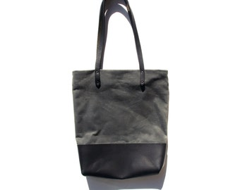 SLATE CIABATTA BAG | Waxed Canvas Leather Tote Bag with Zipper | Slate / Black Shoulder Bag | Market Bag | Carry all | Market Bag | Day Bag
