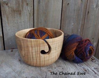 Yarn Holder, Wooden Yarn Bowl
