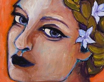 Portrait/ 5x7 Print/ Braids/ Flowers/ Woman Art/ Orange and Purple