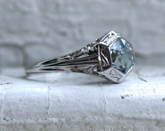 RESERVED - Beautiful Vintage 14K White Gold Aquamarine Solitaire Engagement Ring - 1.50ct