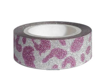 ON SALE Pink and Silver Leopard Design Glitter Finish Washi Tape 5/8 Inch x 5m - Scrapbooks, Handmade Cards, Planners, Journals, Crafts