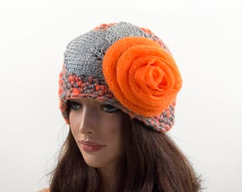 Crochet Beanie Hat with Large Flower - Orange and Gray, Size L