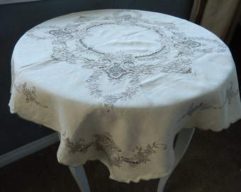 Vintage Cut Work Tablecloth - Victorian Tablecloth - Small Tablecloth - Antique Table Topper - Vintage Linens